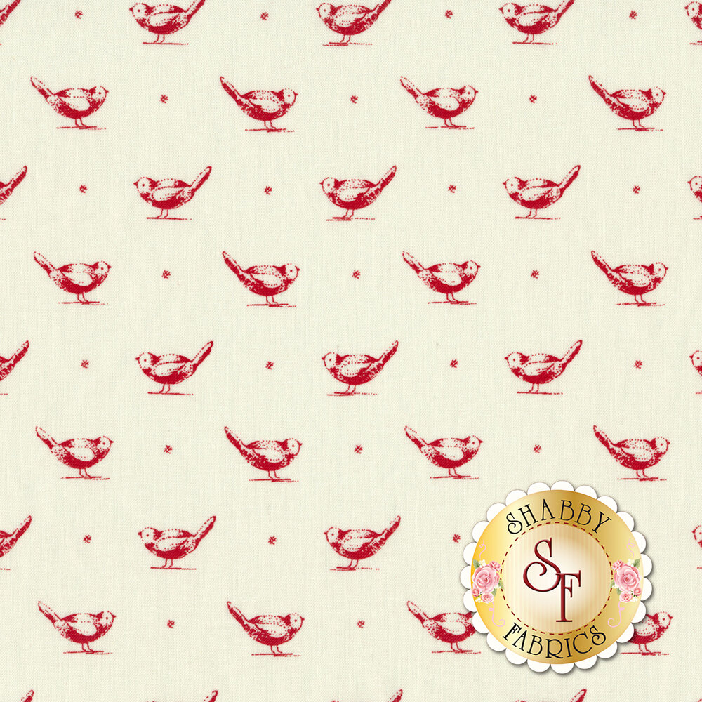 Red toile birds on cream | Shabby Fabrics