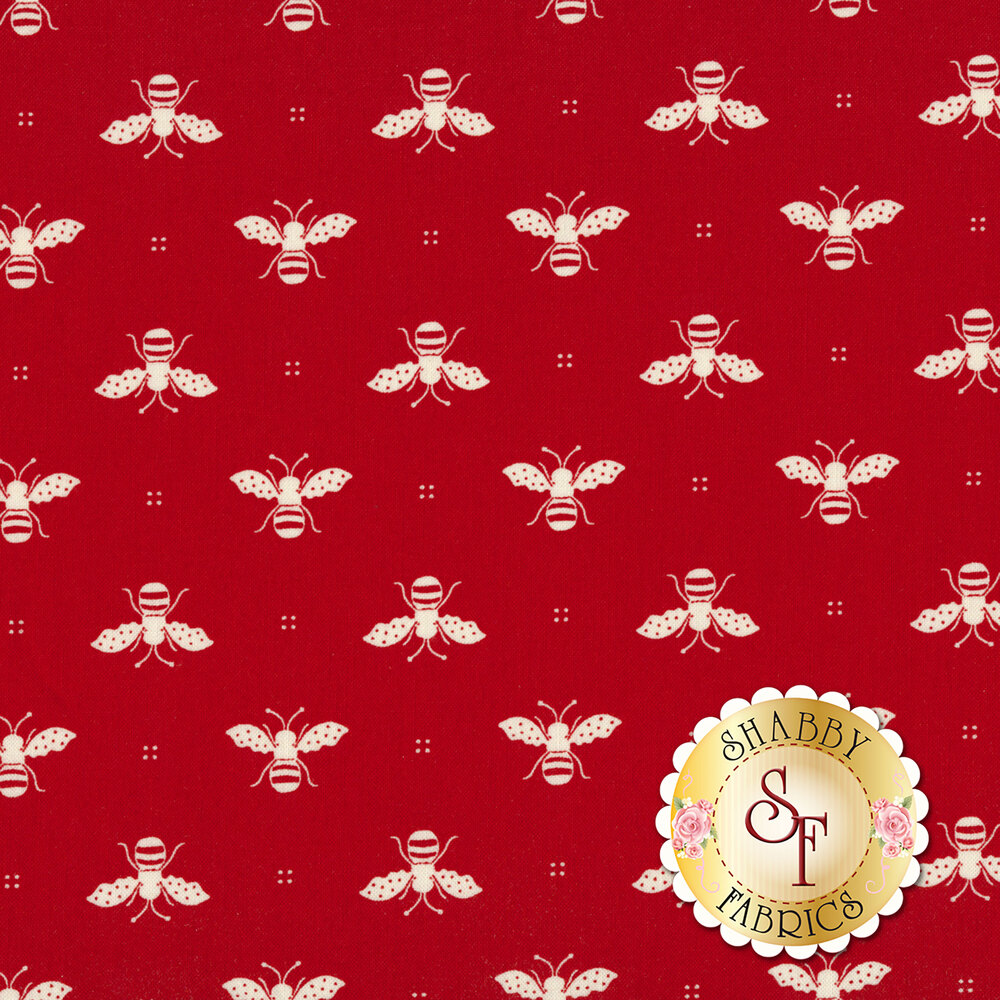 White bees all over red | Shabby Fabrics