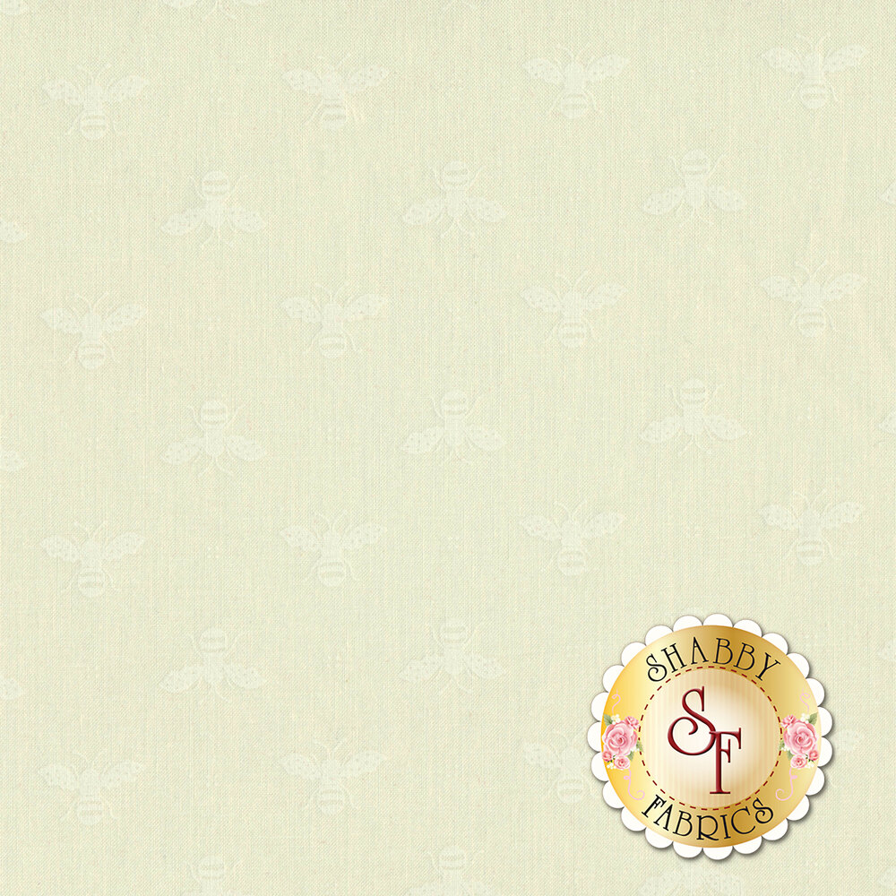 White tonal bee fabric | Shabby Fabrics