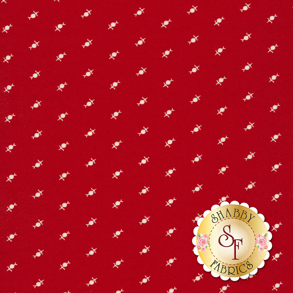 Tiny white flower design all over red | Shabby Fabrics