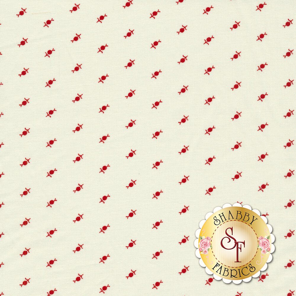 Red flower design all over cream | Shabby Fabrics