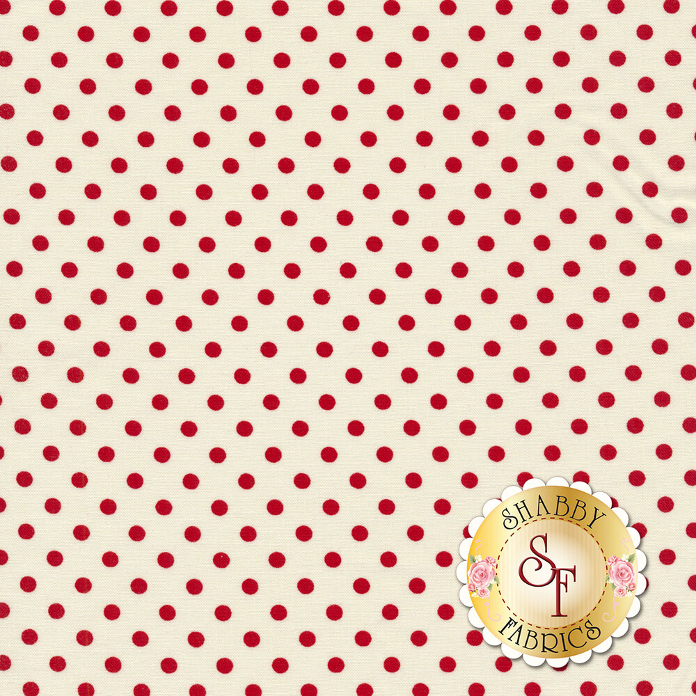 Red polka dots all over cream | Shabby Fabrics