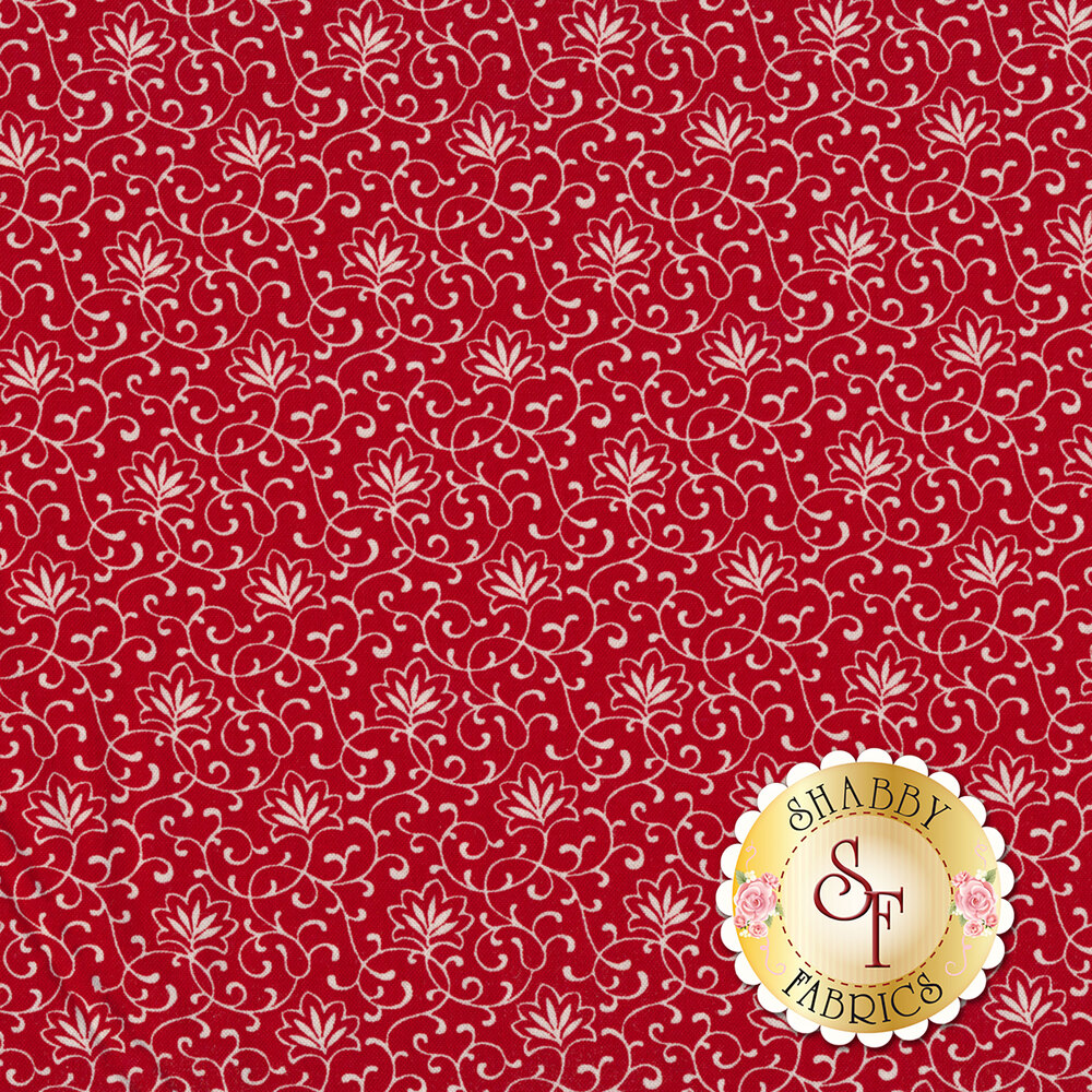 Cream floral design with vines all over red | Shabby Fabrics