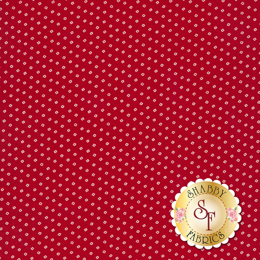 Tiny cream squares all over red | Shabby Fabrics