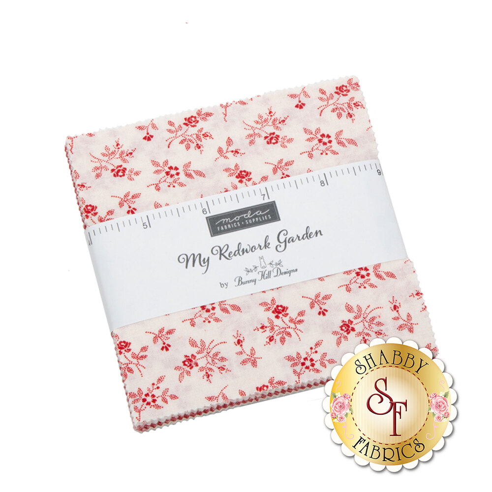 My Redwork Garden  Charm Pack by Bunny Hill Designs for Moda Fabrics now available at Shabby Fabrics