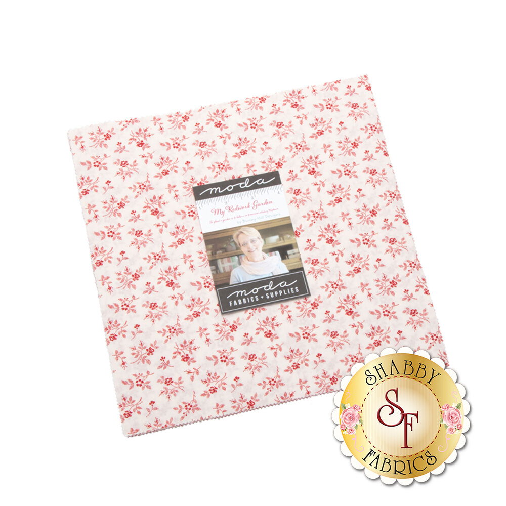 My Redwork Garden  Layer Cake by Bunny Hill Designs for Moda Fabrics now available at Shabby Fabrics
