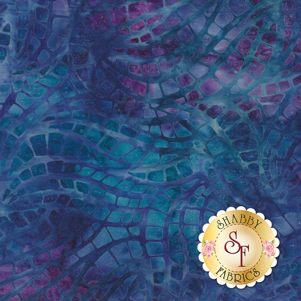 Purple, teal and blue mottled batik