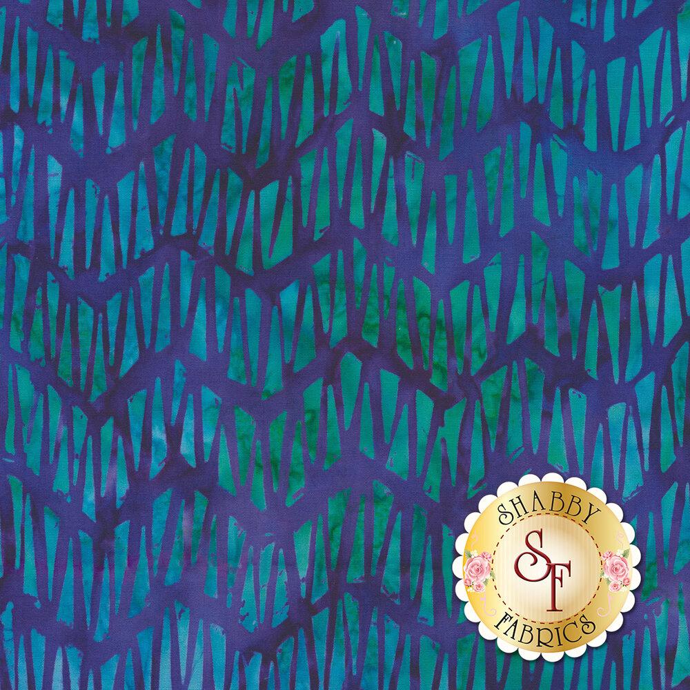 Dark blue and teal zig zag mottled batik
