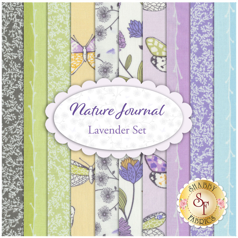 Nature Journal  10 FQ Set - Lavender Set by Michael Miller Fabrics available at Shabby Fabrics