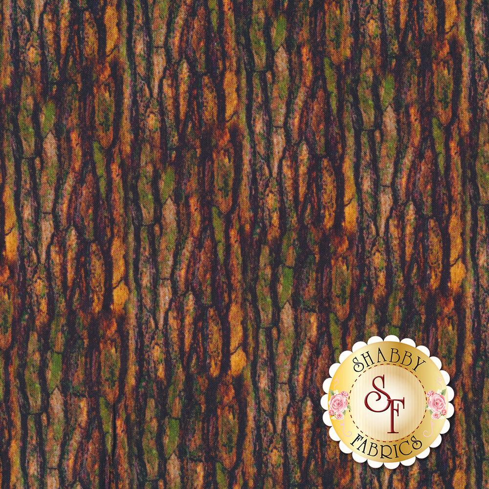 Green and brown bark print   Shabby Fabrics
