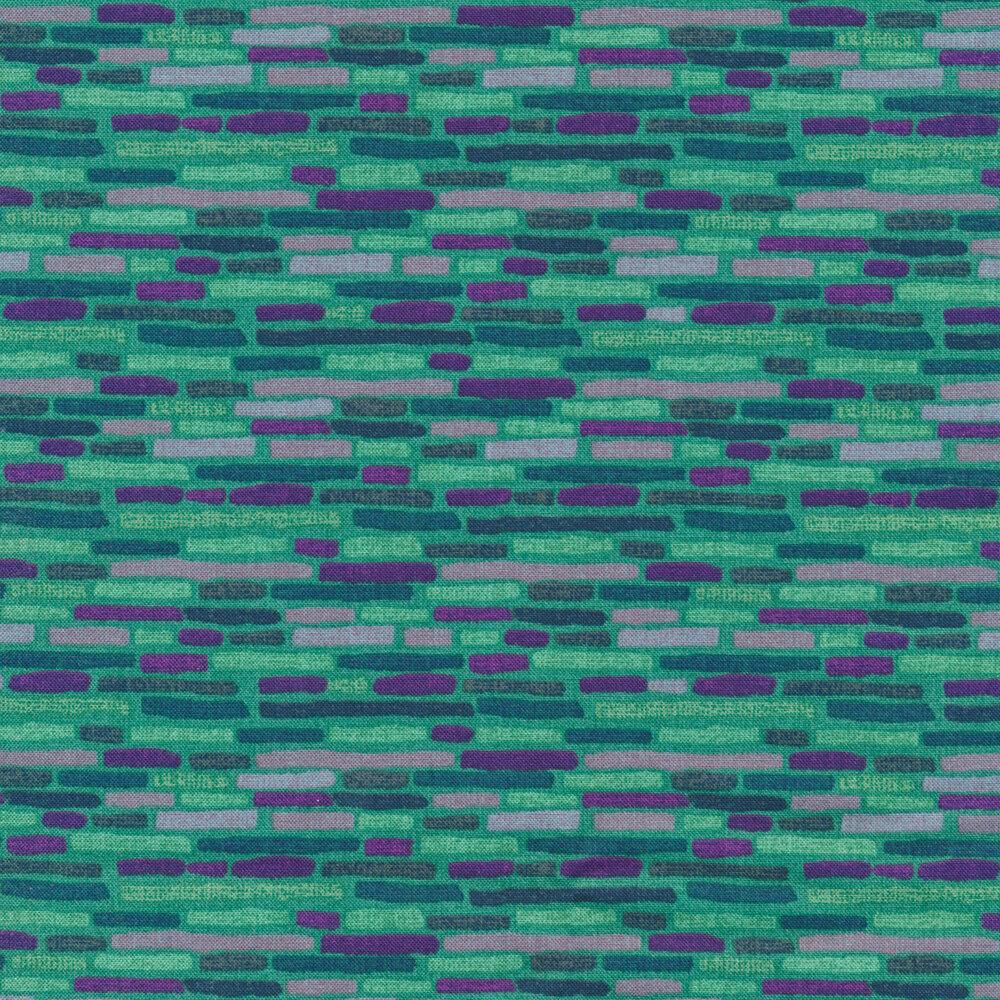 Teal and purple brick design on teal | Shabby Fabrics