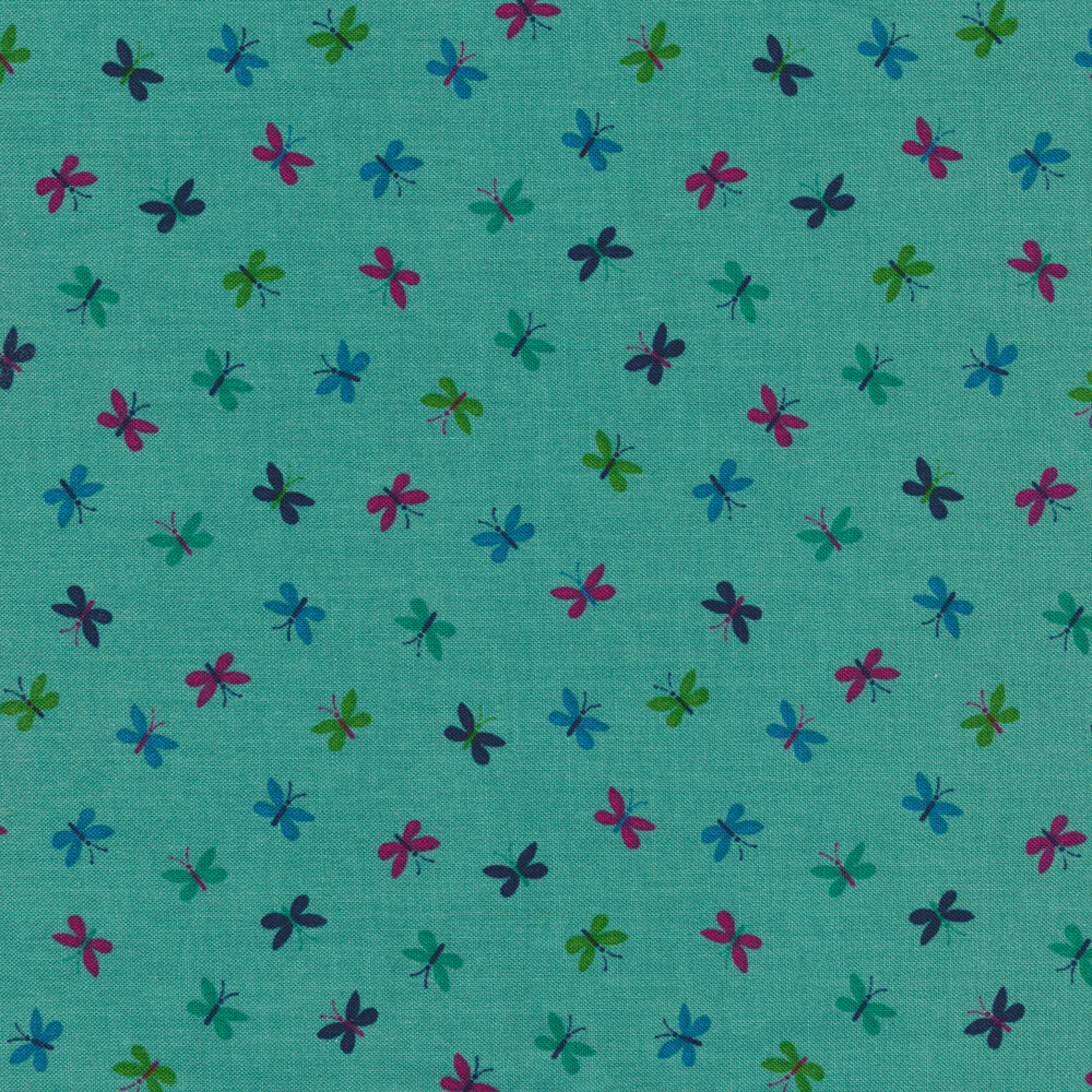 Multicolored small butterflies tossed on turquoise | Shabby Fabrics