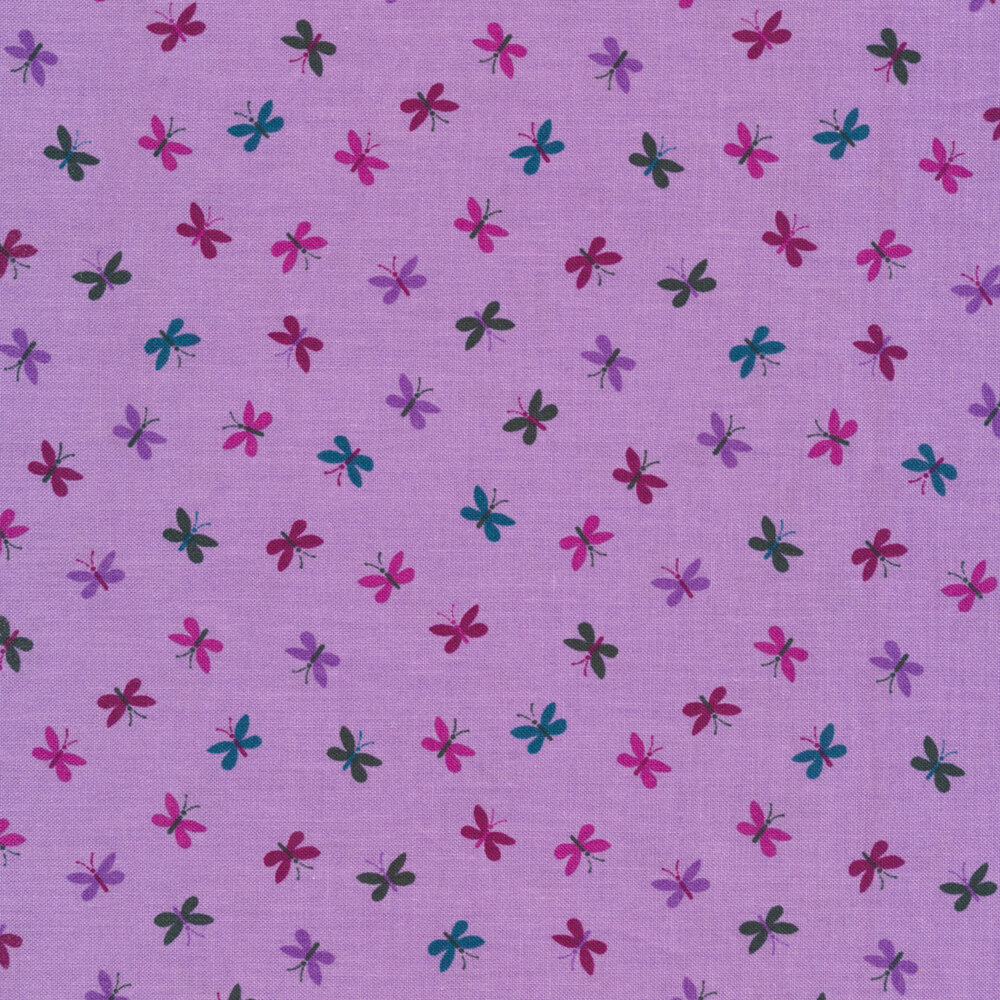 Multicolored small butterflies tossed on purple | Shabby Fabrics
