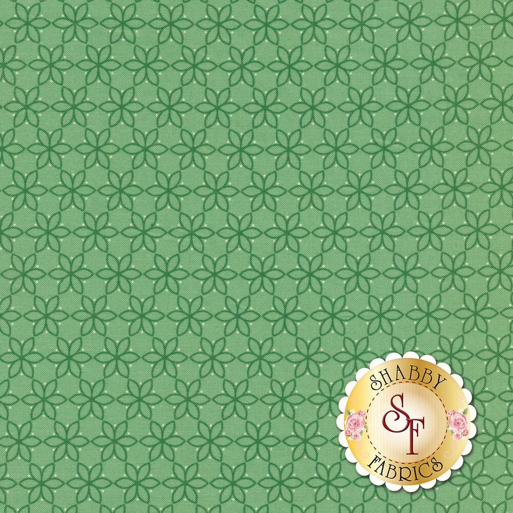Tonal geometric flower chain on teal | Shabby Fabrics
