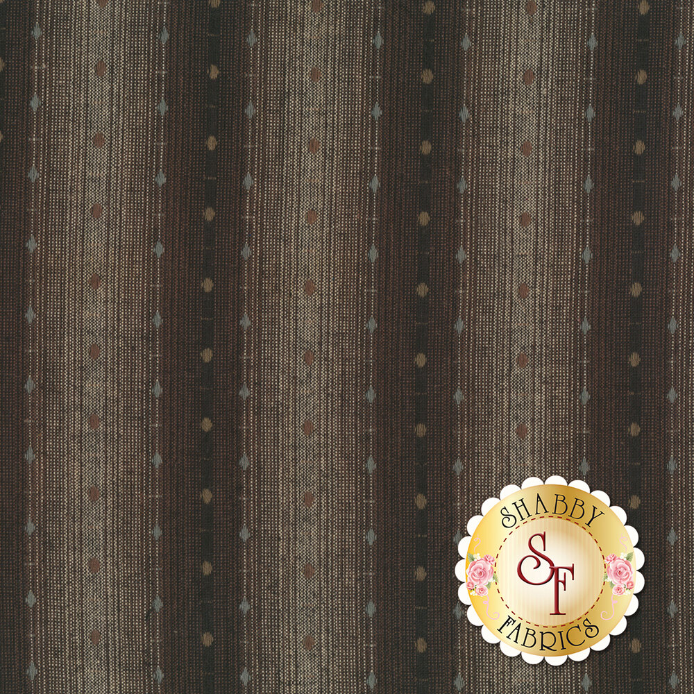Brown and gray woven stripe design | Shabby Fabrics