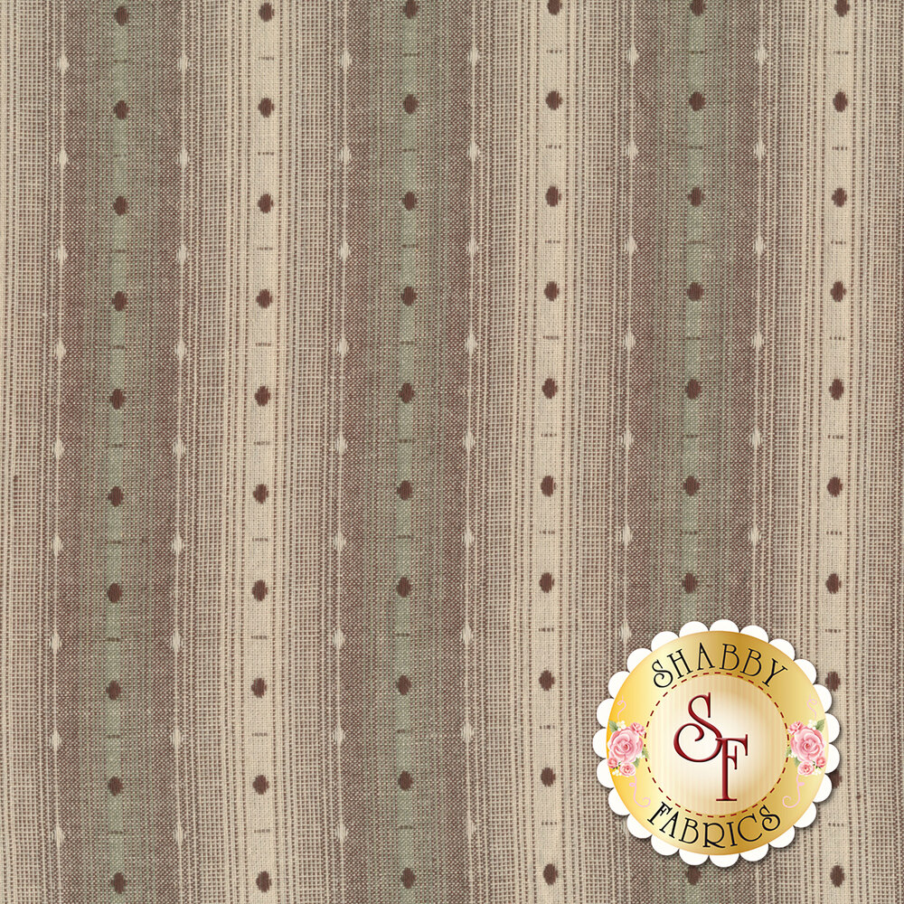 Tan/purple/green woven stripe design | Shabby Fabrics
