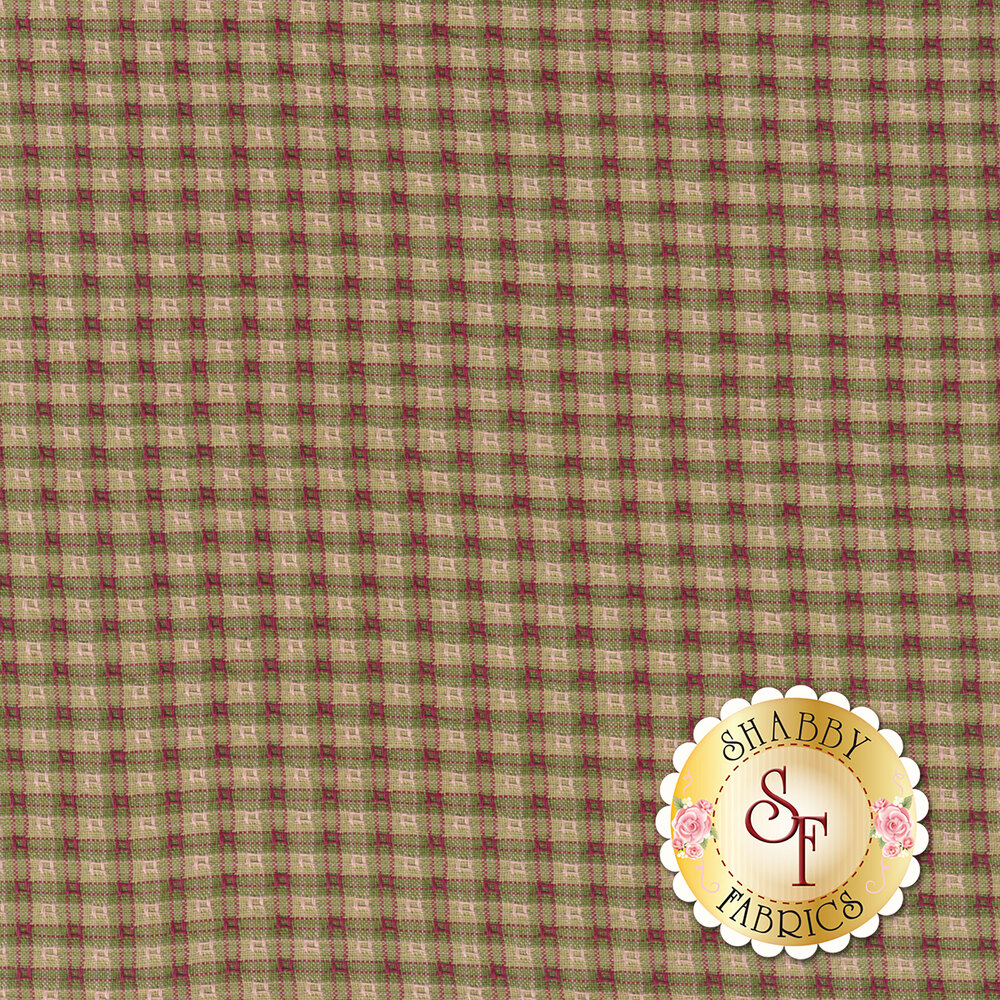 Tan/green/red small checker plaid design | Shabby Fabrics