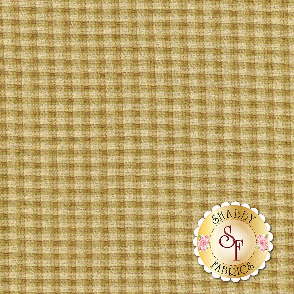 Chartreuse green small checker plaid design | Shabby Fabrics