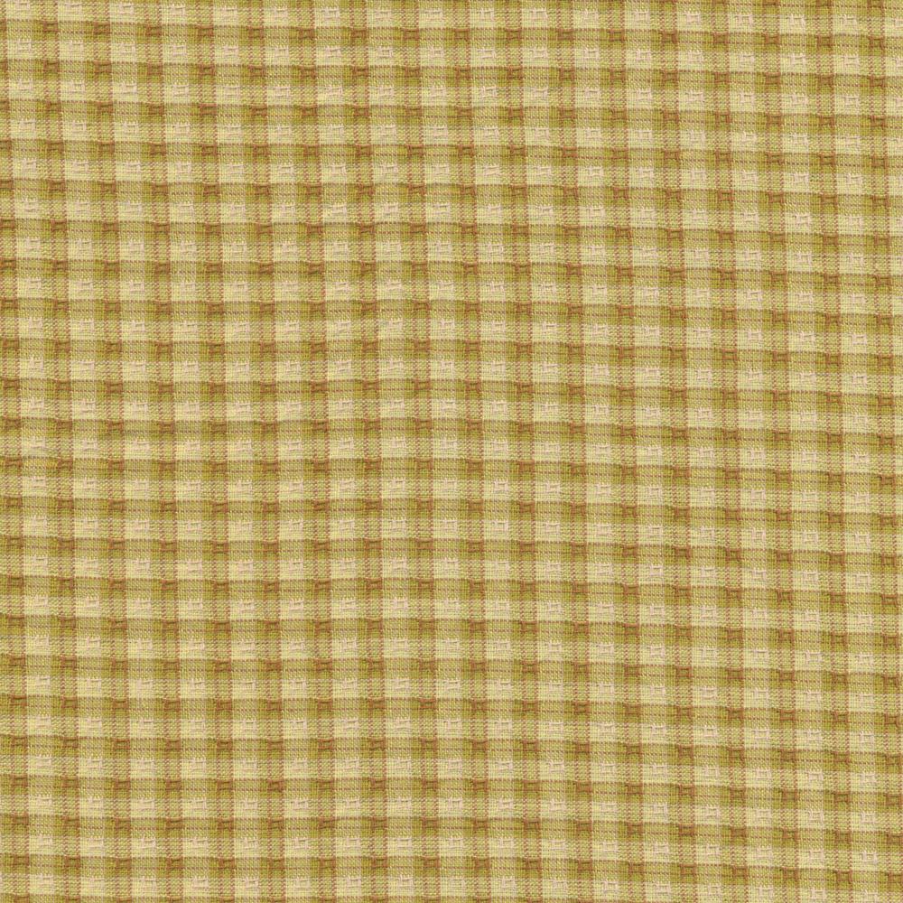 Chartreuse green small checker plaid design | Shabby Fabrics