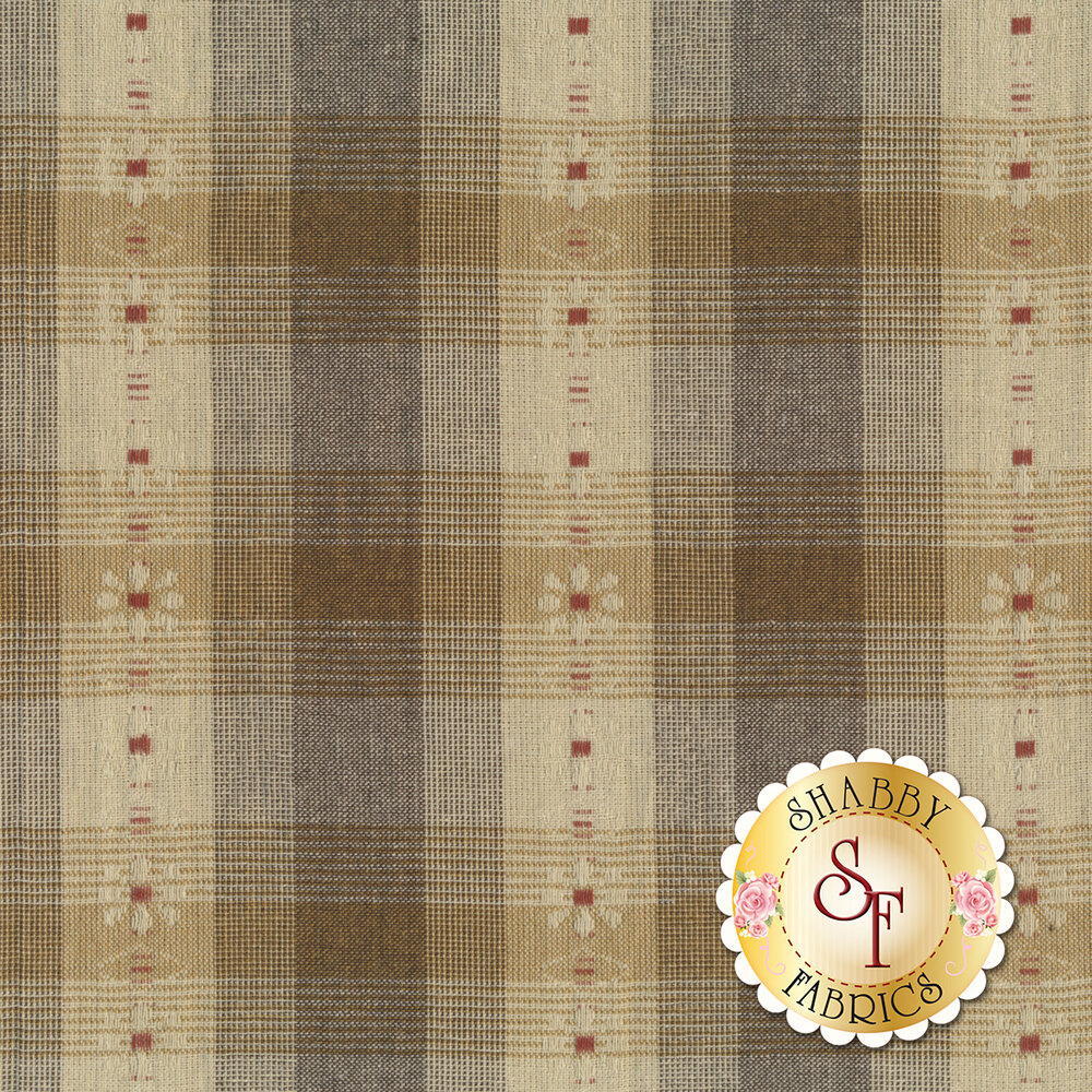 Brown/tan plaid design with flower stripe | Shabby Fabrics