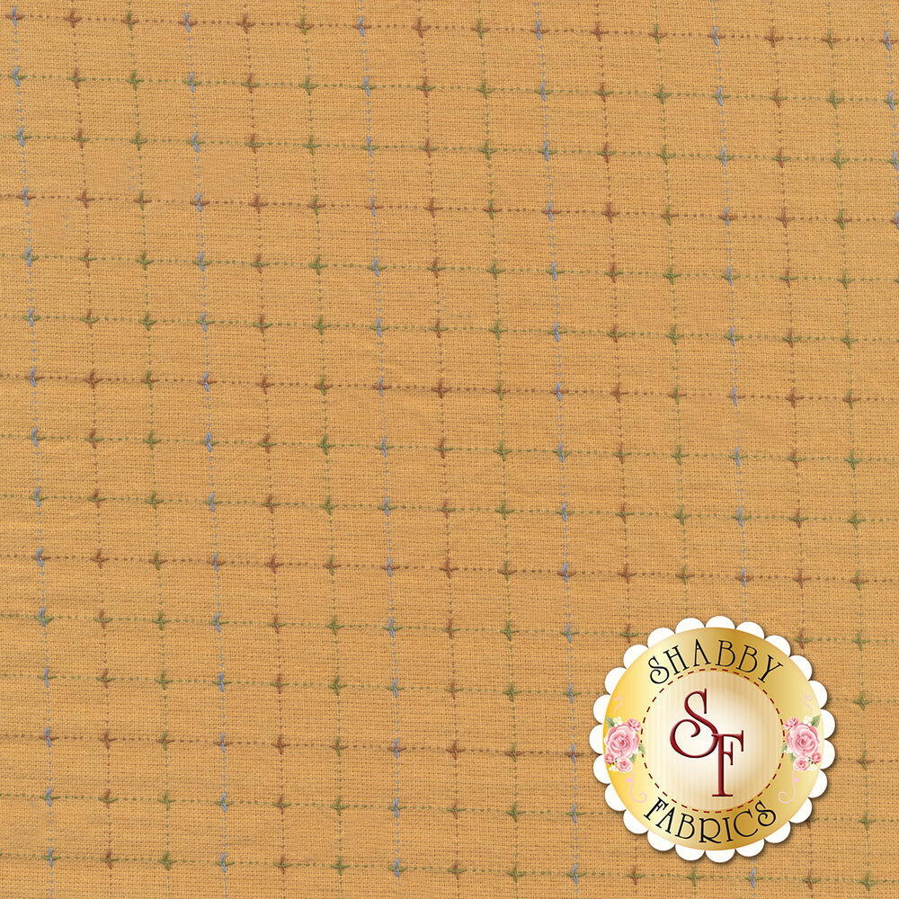 Multicolored woven check design on yellow | Shabby Fabrics