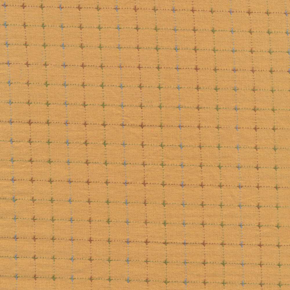 Multicolored woven check design on yellow | Shabby Fabrics