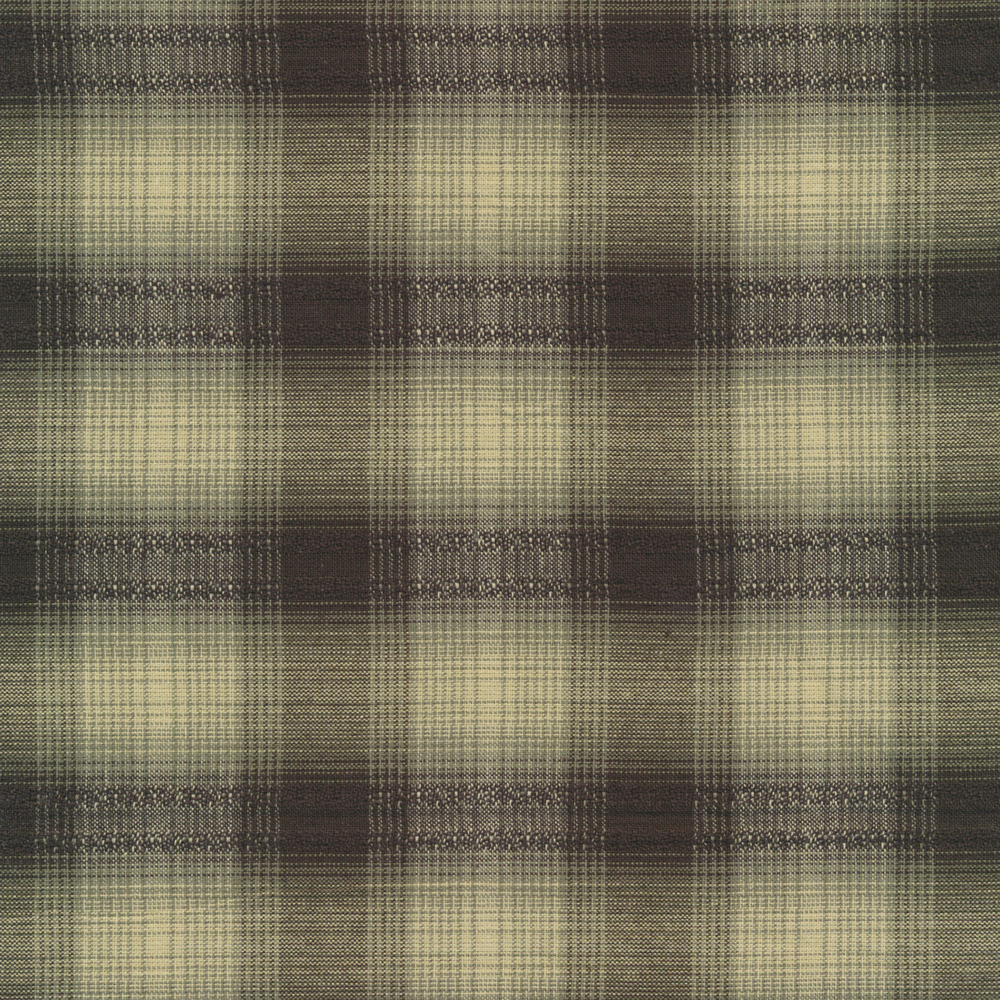 Woven black and tan plaid pattern | Shabby Fabrics