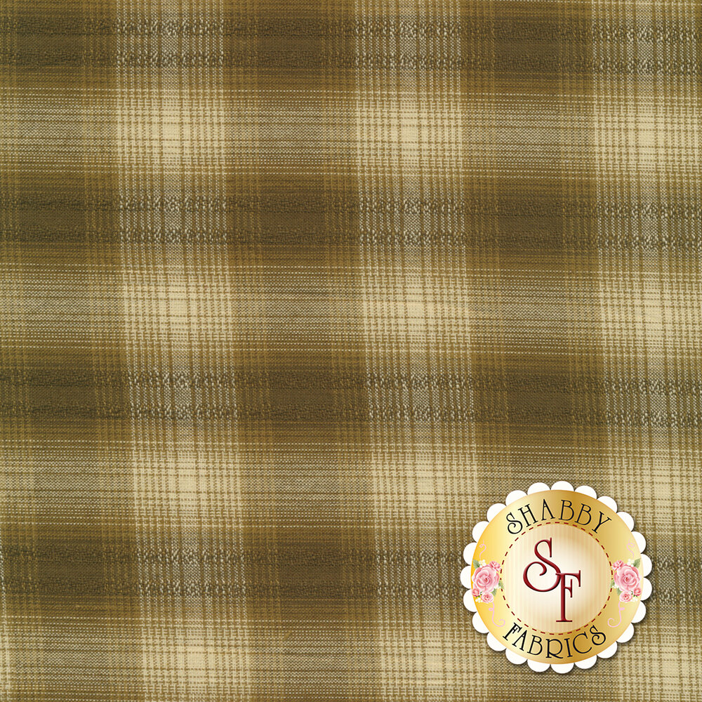 Woven brown and tan plaid pattern | Shabby Fabrics