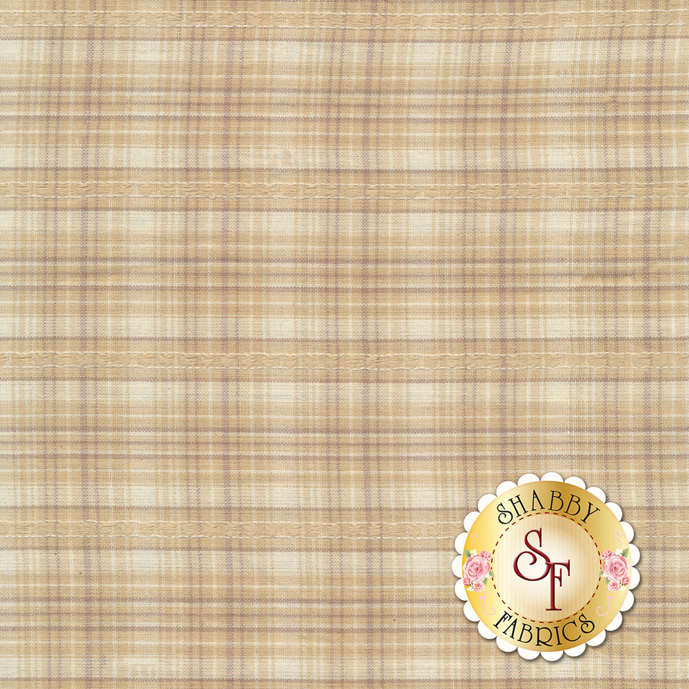 A tan and cream woven plaid pattern | Shabby Fabrics