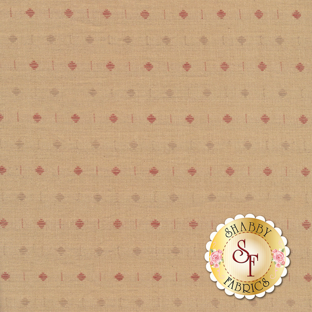A tan woven fabric with red and brown alternating diamonds all over | Shabby Fabrics