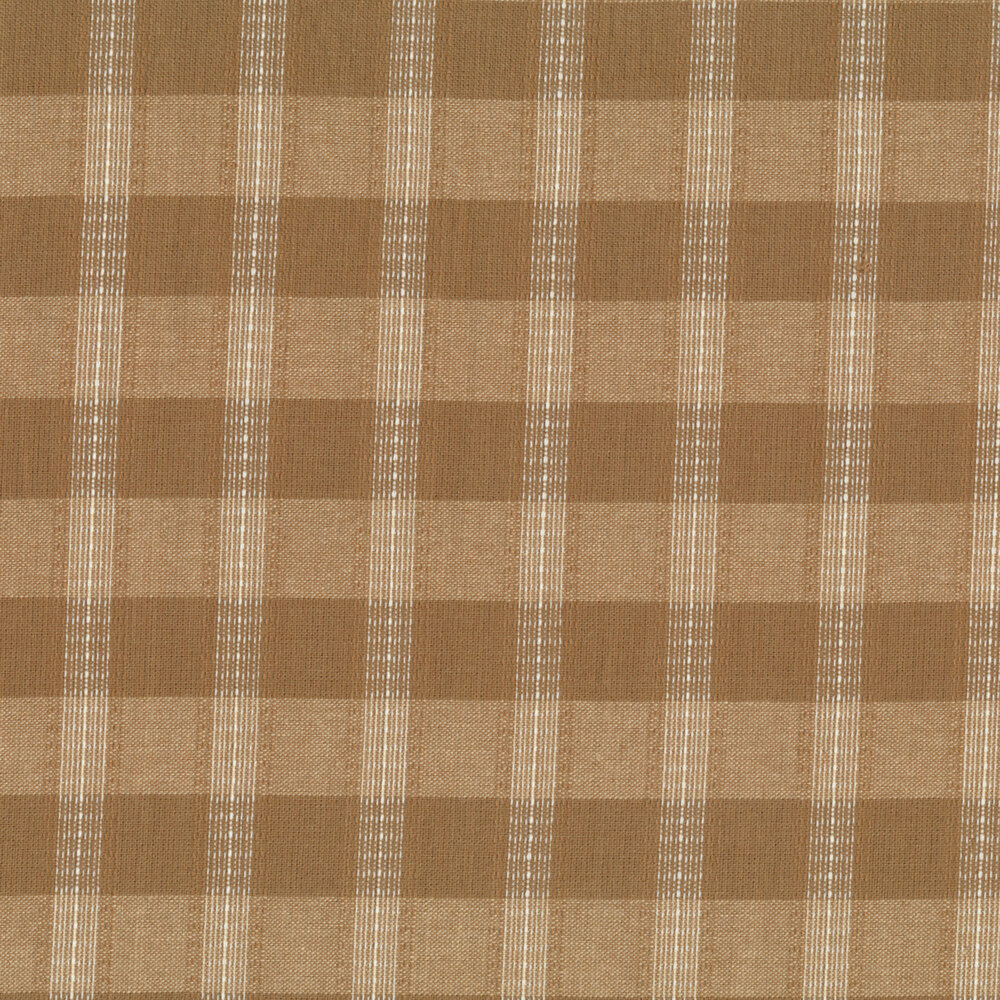 A brown and tan plaid woven fabric | Shabby Fabrics
