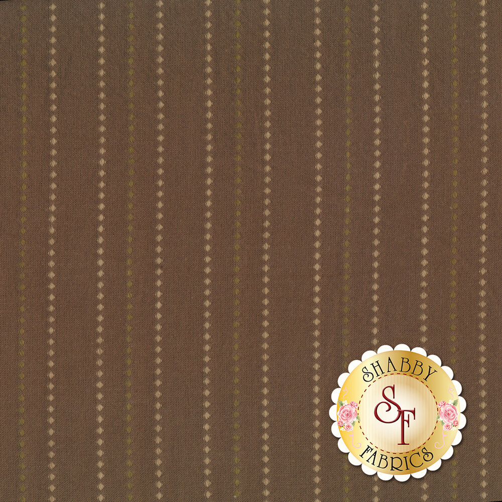A woven brown fabric with tan and green stripes of diamonds | Shabby Fabrics