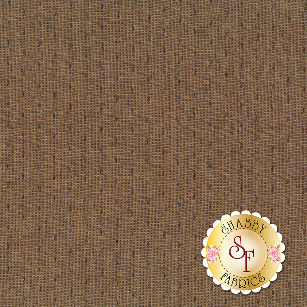 A dark brown woven fabric with a light crosshatch texture and dark spots all over | Shabby Fabrics