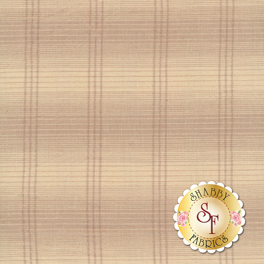 Cream and light pink checkered woven fabric | Shabby Fabrics