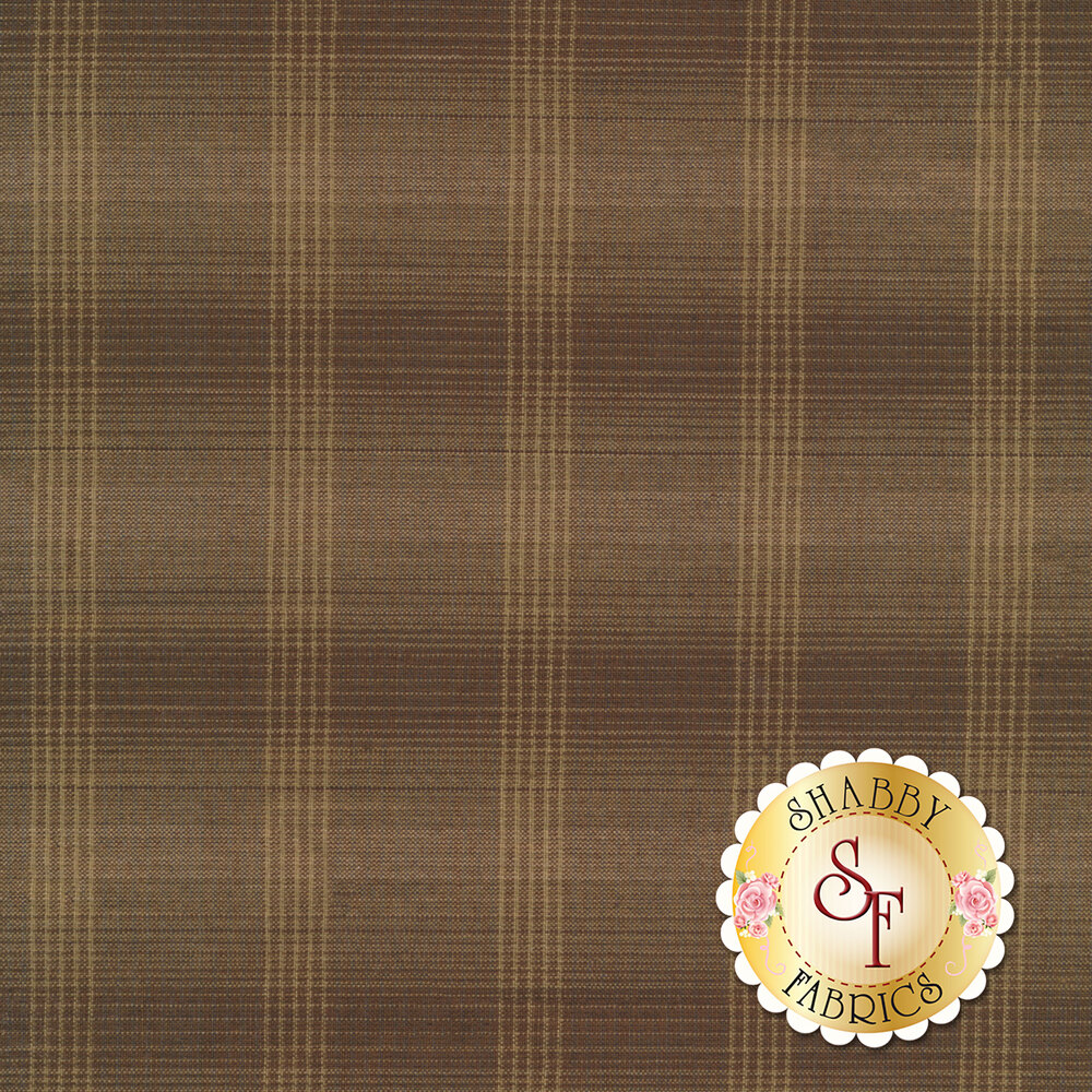 Dark brown woven fabric with tan plaid patterns | Shabby Fabrics