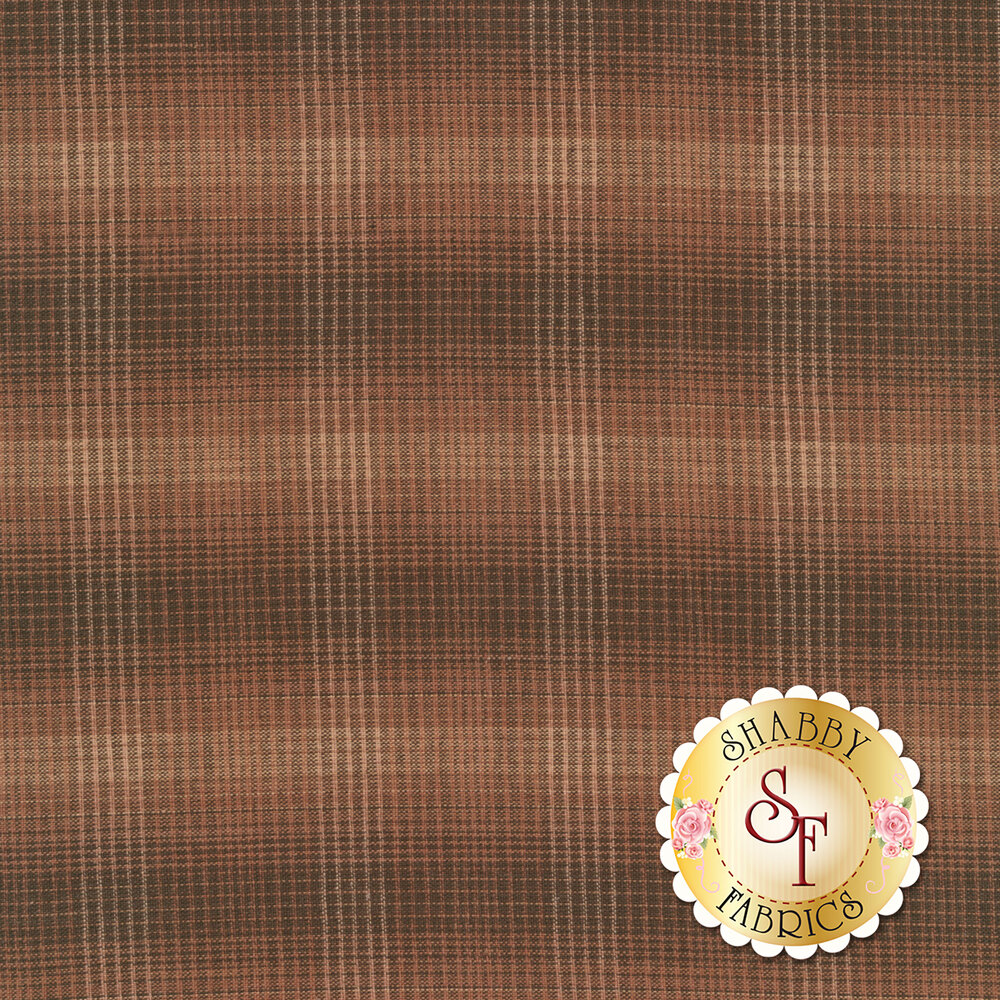 Dark brown woven fabric with tan and light pink plaid patterns | Shabby Fabrics