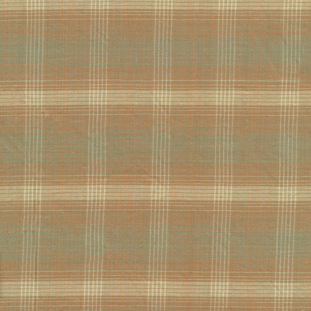 Woven fabric with light teal and light pink plaid patterns | Shabby Fabrics