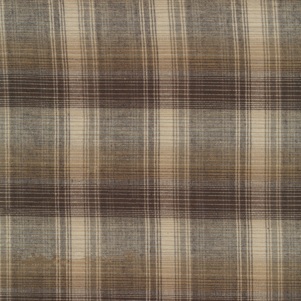 Woven fabric with black, cream, and brown plaid patterns | Shabby Fabrics