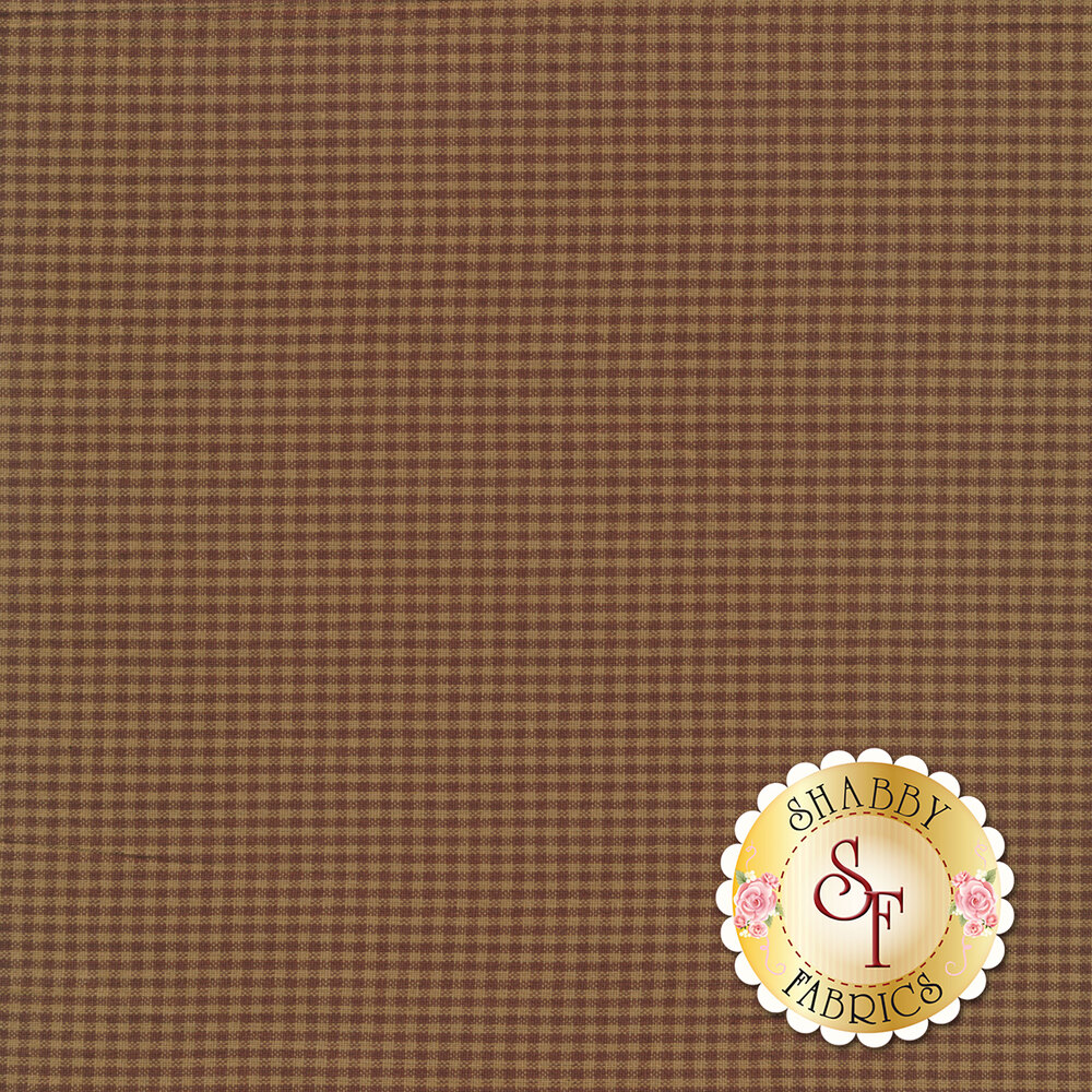 Woven brown and tan tonal checkered fabric | Shabby Fabrics