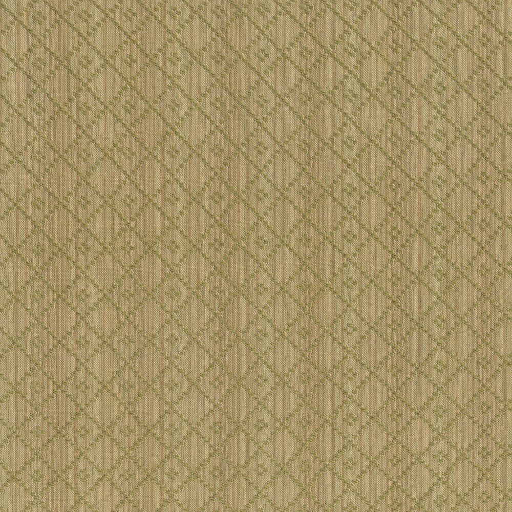 Muted green/brown stripe design with green lattice | Shabby Fabrics