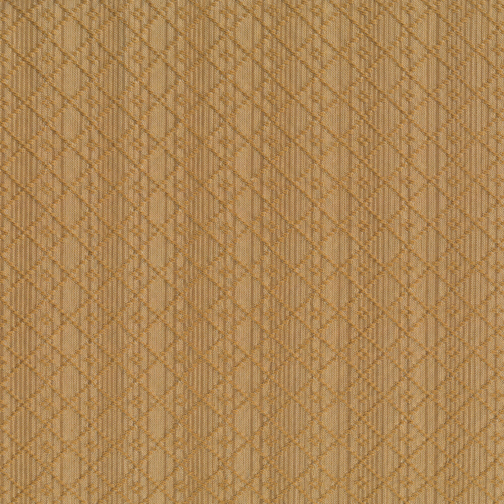 Tonal brown stripe design with woven lattice | Shabby Fabrics