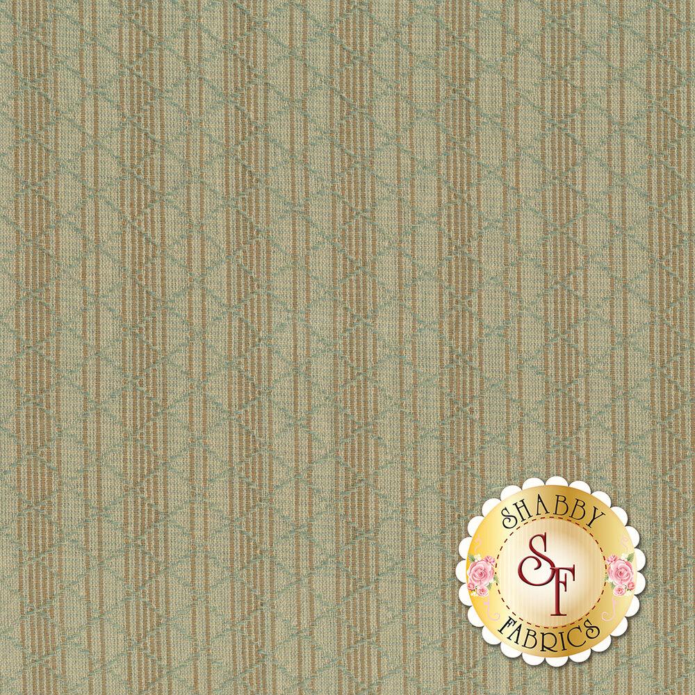 Mint/aqua fabric with brown stripes and light blue woven lattice | Shabby Fabrics