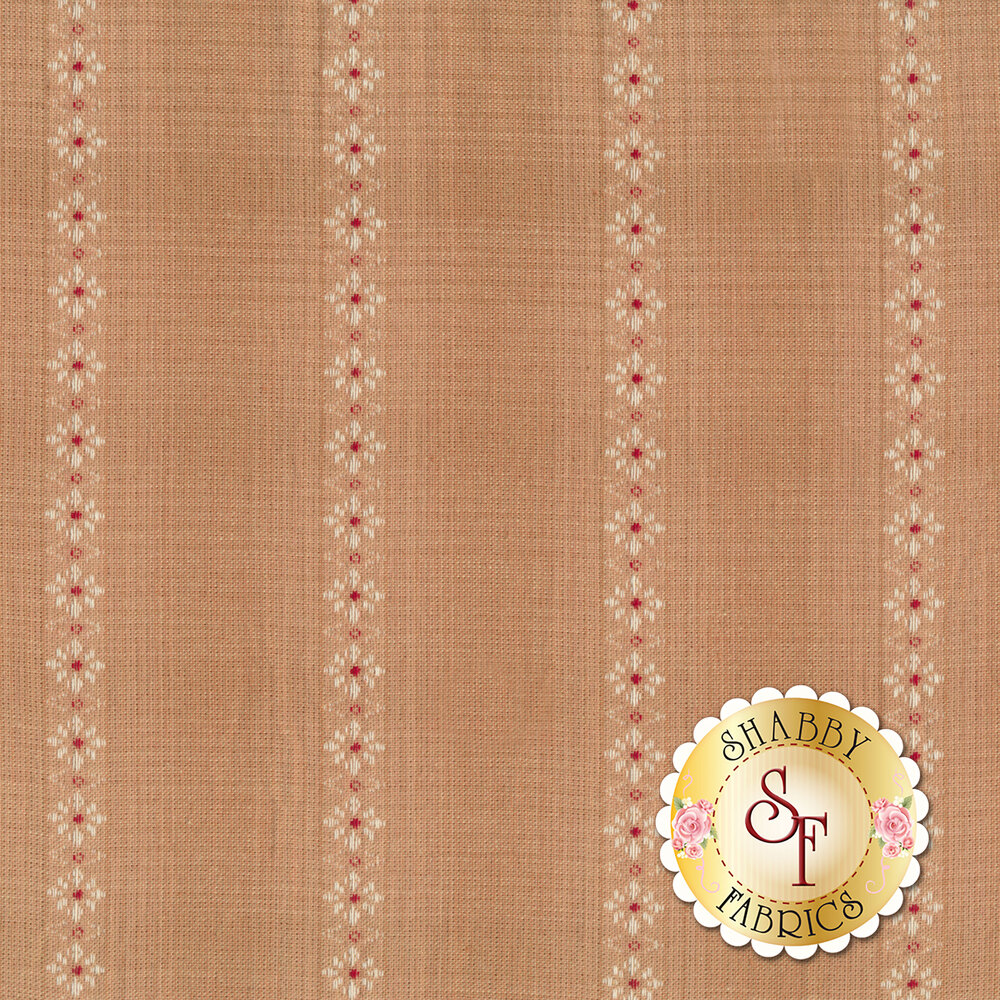 Tonal dusty light brown fabric with small woven flower stripes | Shabby Fabrics