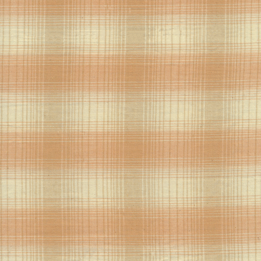 Tan plaid design with orange | Shabby Fabrics