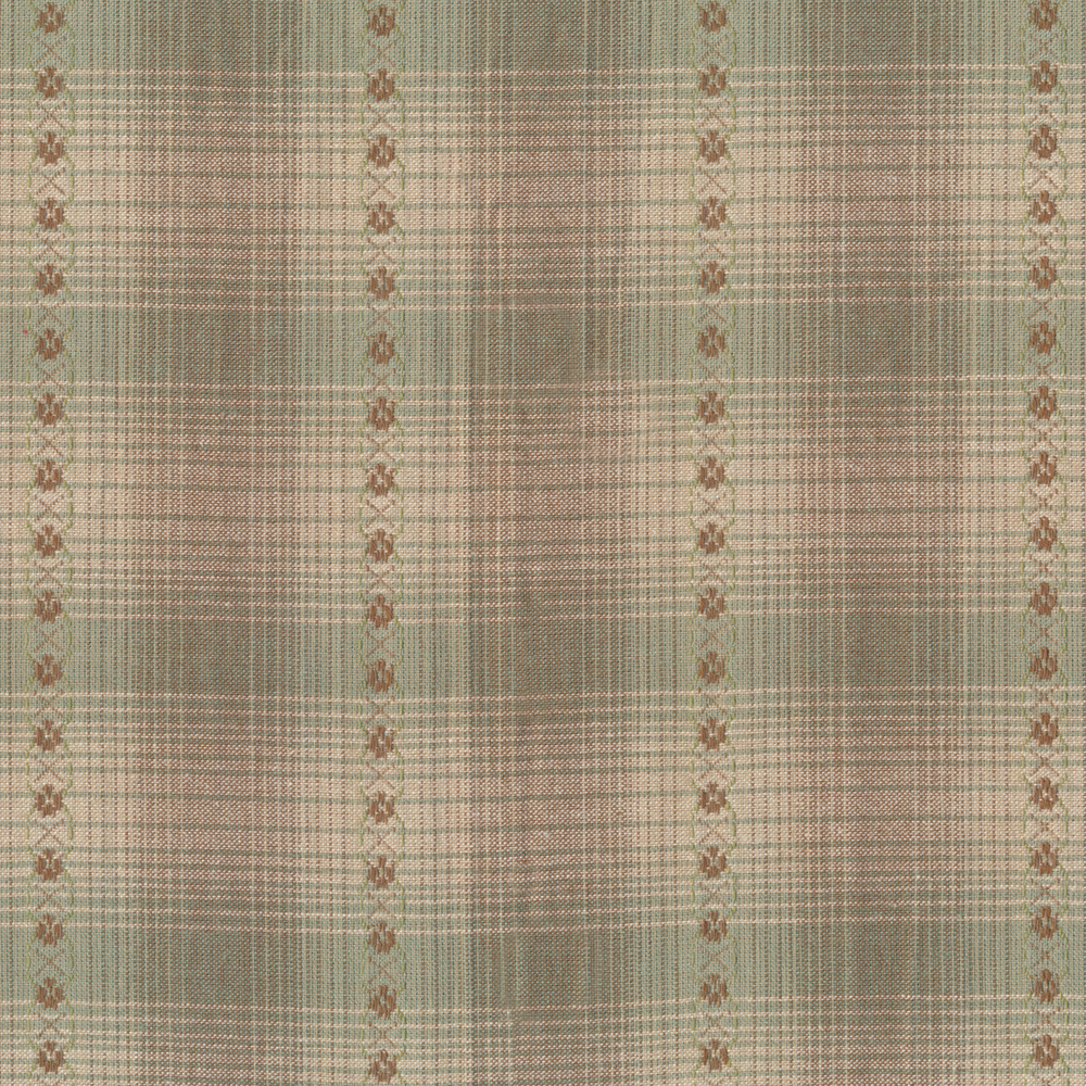 Tan plaid design with green and mauve | Shabby Fabrics