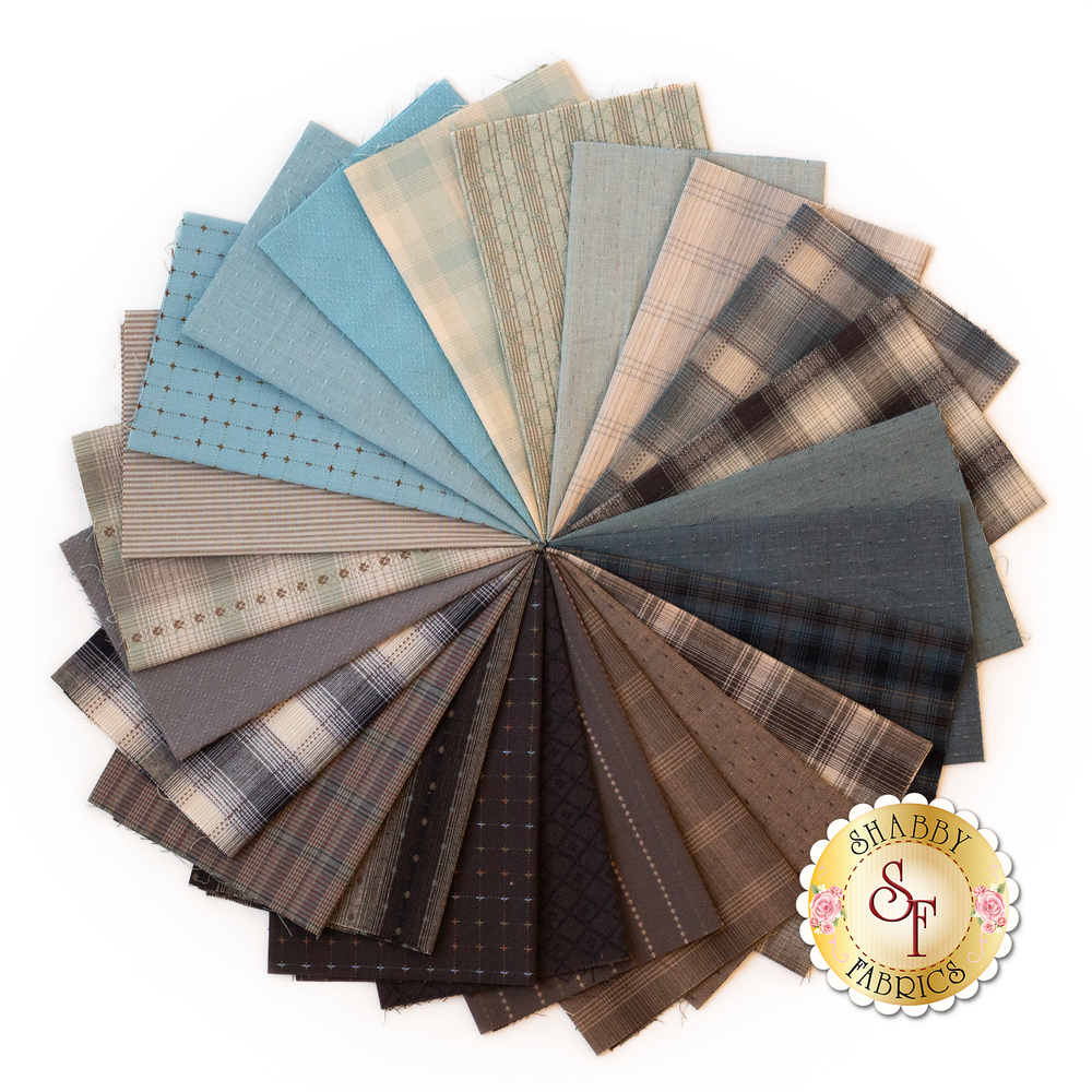 Collage of fabrics in Nikko Blue & Brown | Shabby Fabrics