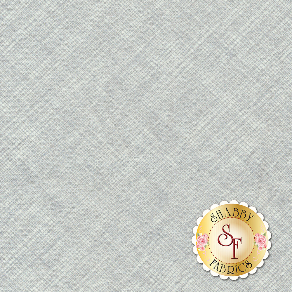 Silver metallic overlapping lines on white | Shabby Fabrics