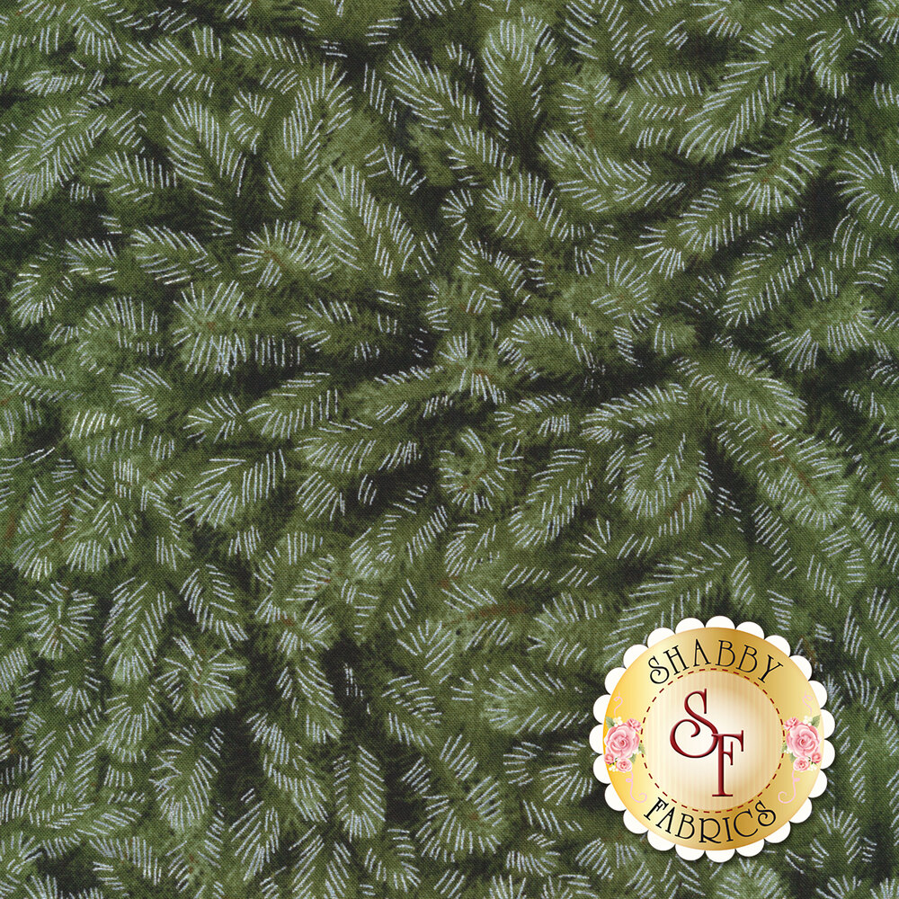 Silver metallic accents on green packed leaves | Shabby Fabrics