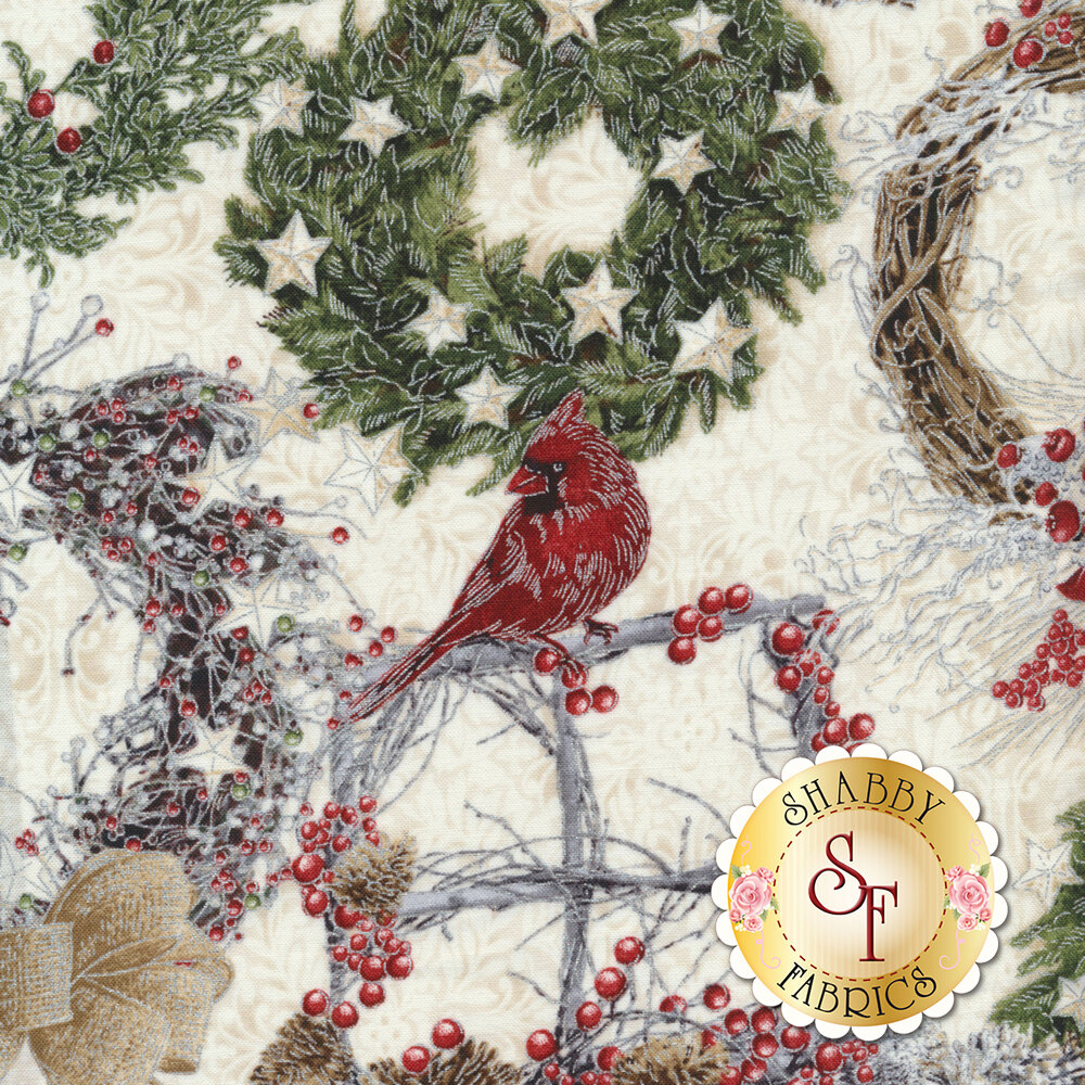 Red cardinal with wreaths and branches on tan | Shabby Fabrics