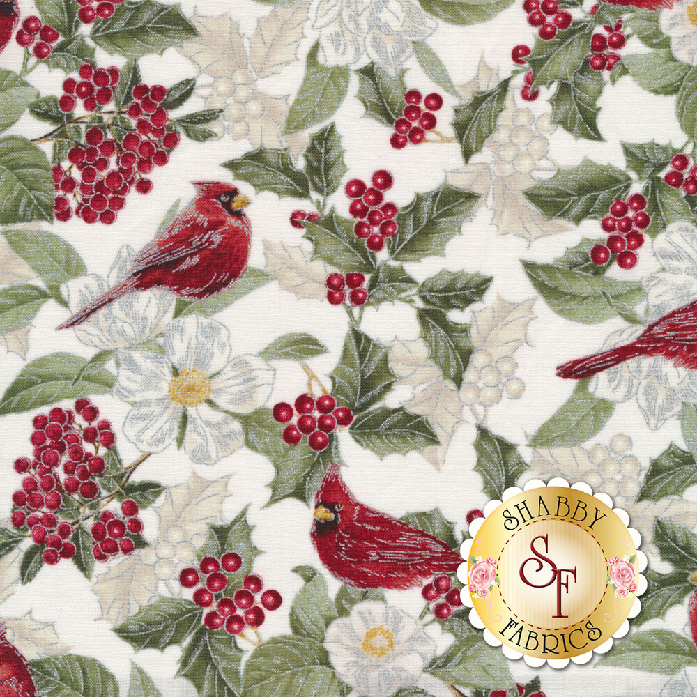 Red cardinals, holly and berries, and white flowers on cream | Shabby Fabrics